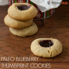 Paleo Blueberry THumbpring Cookies #paleo #cookies #blueberry #dessert #grainfree #glutenfree