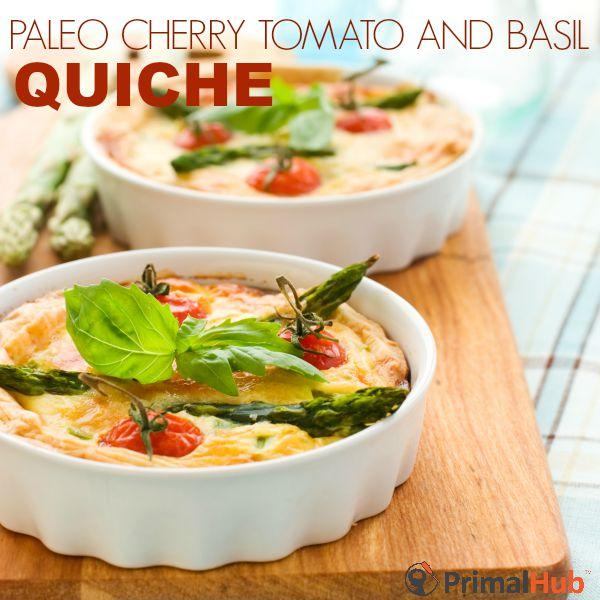 Paleo Cherry Tomato and Basil Quiche #paleo #glutenfree #grainfree #tomato #breakfast #quiche