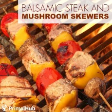 Balsamic STeak and Mushroom Skewers #paleo #balsamic #steak #mushroom #skewers