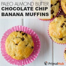 Paleo Almond Butter Chocolate Chip Banana Muffins #paleo #glutenfree #almondbutter #chocolatechip #banana #Muffins #breakfast
