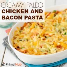 Creamy Paleo Chicken and Bacon Pasta #paleo #glutenfree #chicken #bacon #pasta #dairyfree