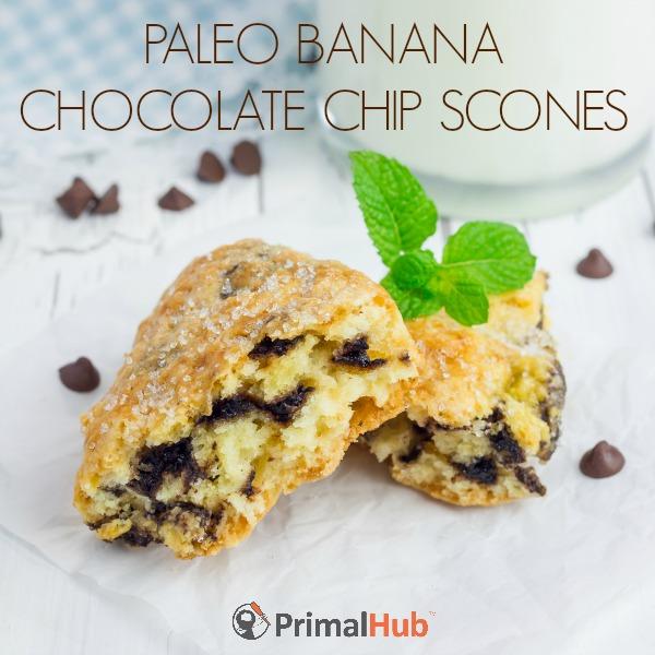 Paleo Banana Chocolate Chip Scones #paleo #banana #chocolatechips #scones #breakfast #dessert