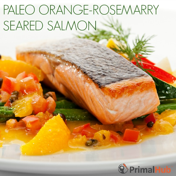 Paleo Orange Rosemary Seared Salmon #paleo #salmon #fish #rosemary #orange #salmon
