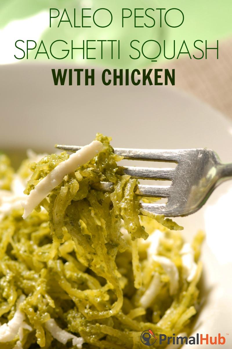 Paleo Pesto Spaghetti Squash with Chicken #paleo #pesto #spaghettisquash #chicken #glutenfree
