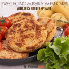 Sweet Potato Mushroom Panakes with Spicy Skillet Spinach #paleo #glutenfree #potato #mushrooms #sweetpotatoe #pancakes #spinach