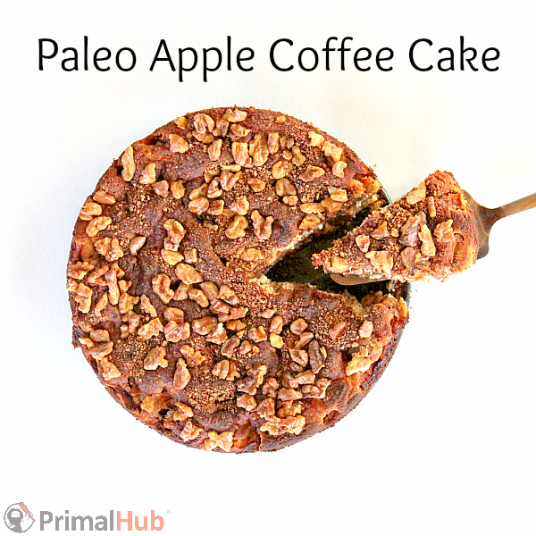 Delicious paleo apple coffee cake is made with coconut and almond flour.