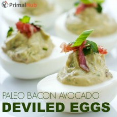 Paleo Bacon Avocado Deviled Eggs #paleo #glutenfree #dairyfree #avocado #deviledeggs