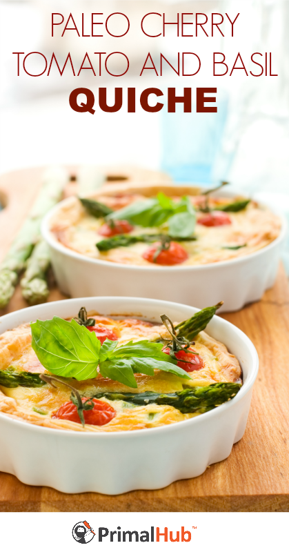 Paleo Cherry Tomato and Basil Quiche #paleo #glutenfree #grainfree #tomato #breakfast #quiche