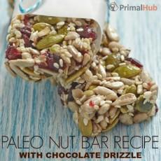 Paleo Nut Bar Recipe with Chocolate Drizzle #paleo #chocolate #Nuts #snack #snackbar #glutenfree #grainfree