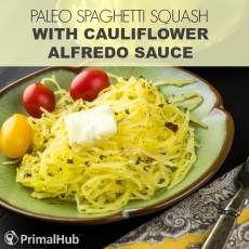 Paleo Spaghetti Squash Bowls with Cauliflower Alfredo Sauce #paleo #spaghettisquash #cauliflower #alfredo #glutenfree