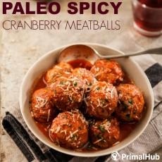 Paleo Spicy Cranberry Meatballs #paleo #meatballs #beef #cranberry #glutenfree