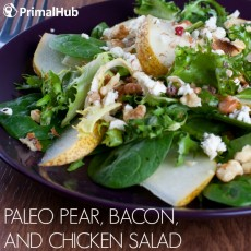 Paleo Pear Bacon and Chicken Salad #paleo #chickensalad #bacon #pear #salads