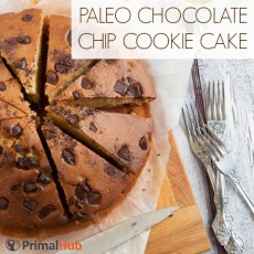 Paleo Chocolate Chip Cookie Cake #paleo #chocolatechip #cookies #cake #dessert