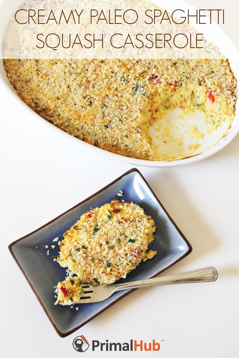 Creamy Paleo Spaghetti Squash Casserole Recipe #paleo #glutenfree #spaghettisquash #casserole #dairyfree