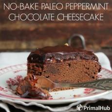 No-Bake Paleo Peppermint Chocolate Cheesecake #paleo #dairyfree #peppermint #chocolate #cheesecake #dessert #nobake
