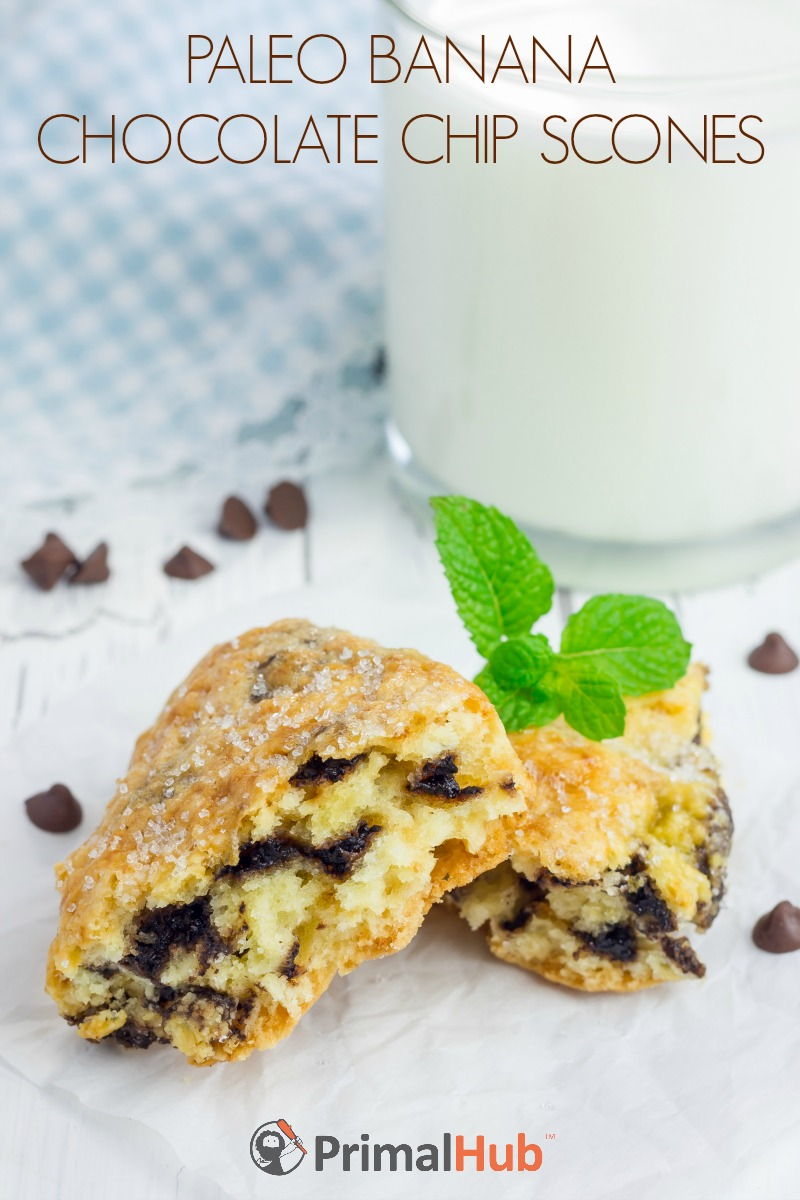 Paleo Banana Chocolate Chip Scones #paleo #banana #chocolatechips #scones #breakfast #dessert