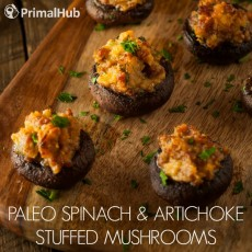 Paleo Spinach & Artichoke Stuffed Mushrooms #paleo #spinach #artichoke #glutenfree #mushrooms #stuffedmushrooms